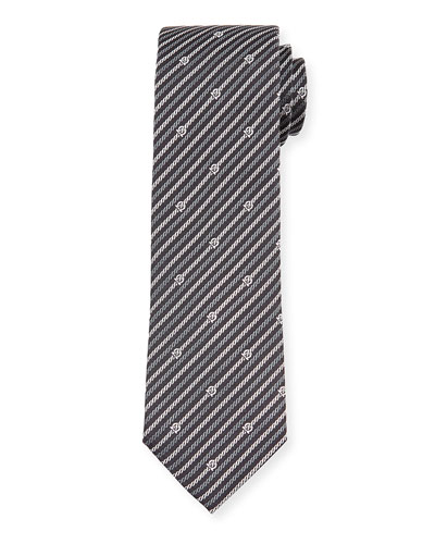 Levan Gancini Chain-Print Tie  Black