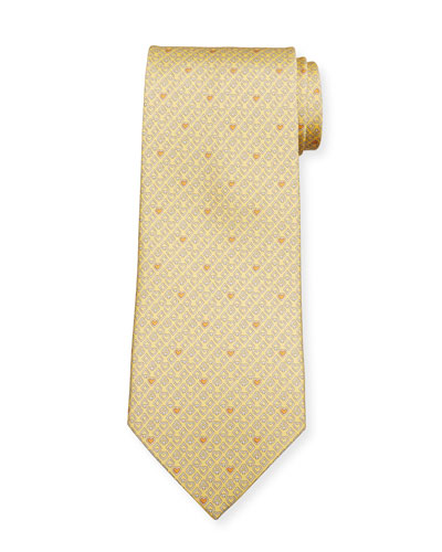 Locker Playing Cards Silk Tie  Yellow