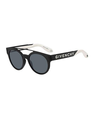 Men's Round Stainless Steel Logo-Print Sunglasses