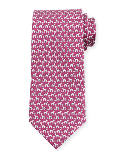 Zebra/Flower Silk Tie  Purple