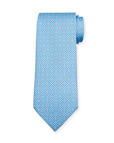 Lollo Anchor-Print Tie  Blue