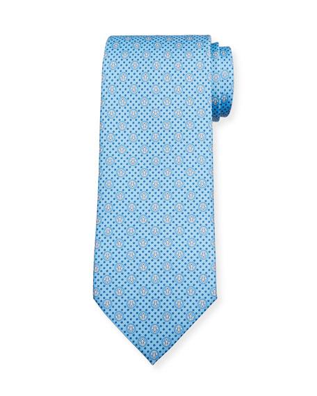 Lollo Anchor-Print Tie, Blue