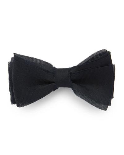 Men's Layered Raw-Edge Bow Tie