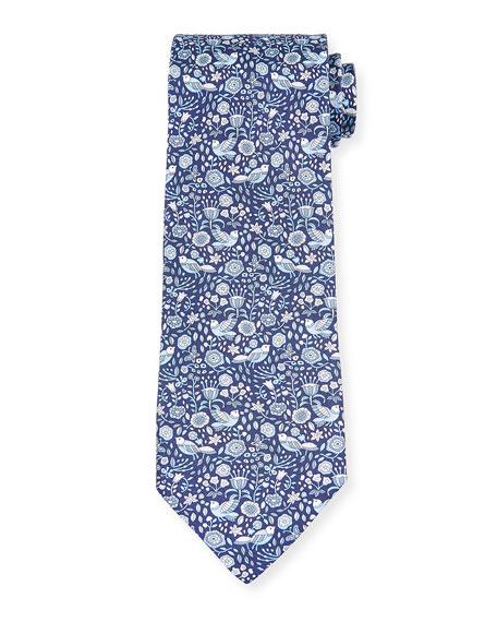Men's Flower & Bird Silk Tie, Blue