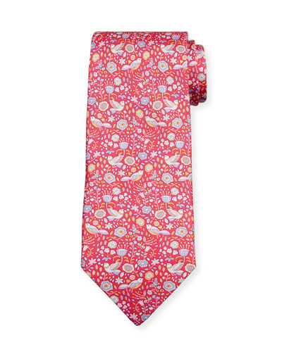 Men's Flower & Bird Silk Tie  Red