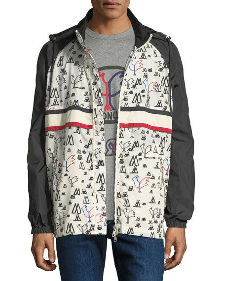 Bergdorf Goodman Moncler Genius Allos Printed Zip-Front Men's Jacket