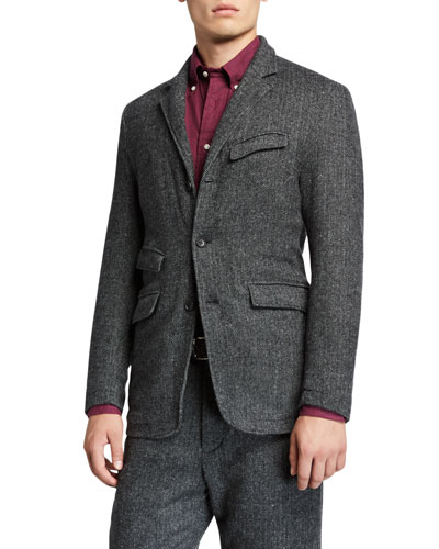 Men's Andover Unconstructed Three-Button Jacket  Gray