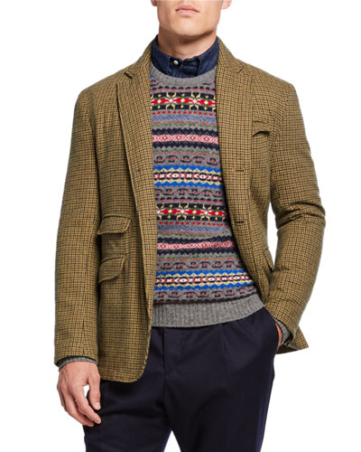 Men's Andover Check Three-Button Jacket  Green/Brown