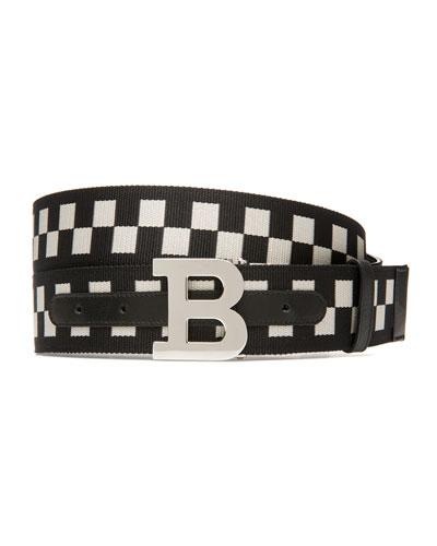 Men's B-Buckle Checkered Web Belt