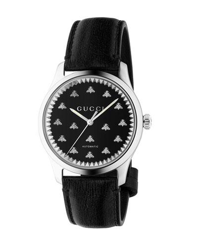 Men's Automatic Bee-Motif Watch w/ Leather Strap