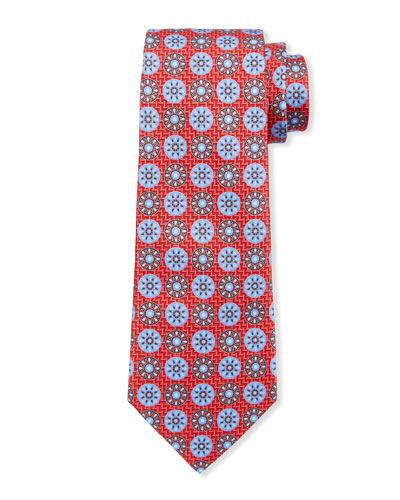 Men's Patterned Circles Silk Tie