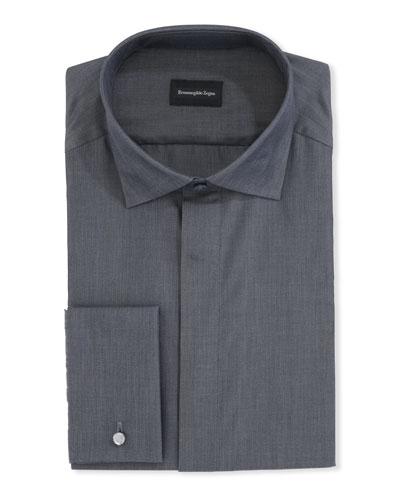 Men's Solid Melange Cotton Dress Shirt