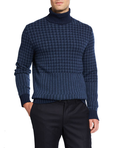 Men's Cabled Herringbone Cashmere Turtleneck Sweater