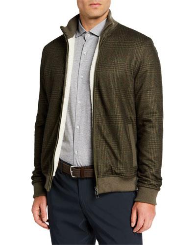 Men's Plaid Cashmere Bomber Jacket