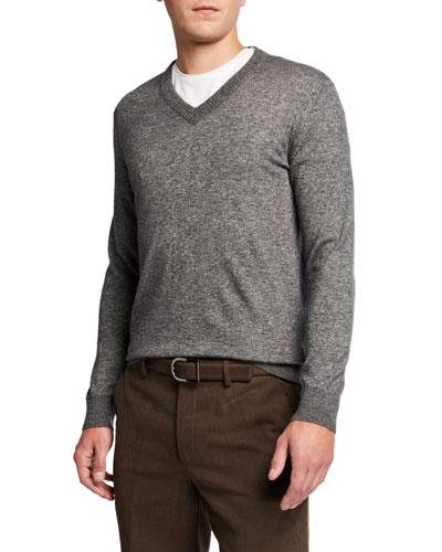 Men's Cashmere-Silk V-Neck Sweater