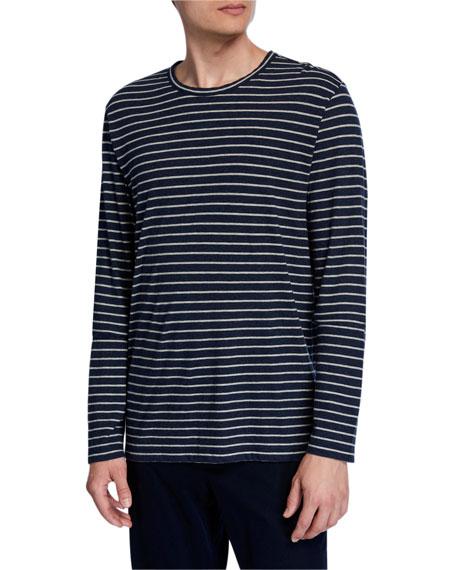 Men's Striped Long-Sleeve Crewneck T-Shirt