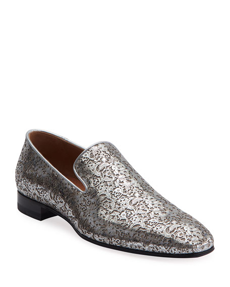 Men's Dandelion Laser-Cut  Metallic Leather Loafers