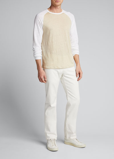 Men's Linen Baseball Crewneck T-Shirt
