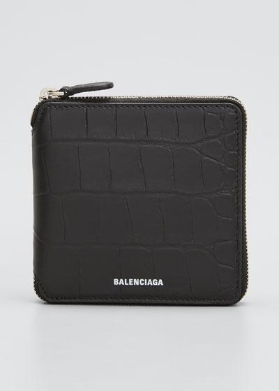 Men's Croc-Embossed Leather Zip Wallet