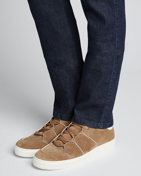 Men's Paneled Suede Low-Top Sneakers