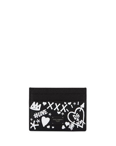 Men's Graffiti Leather Card Case