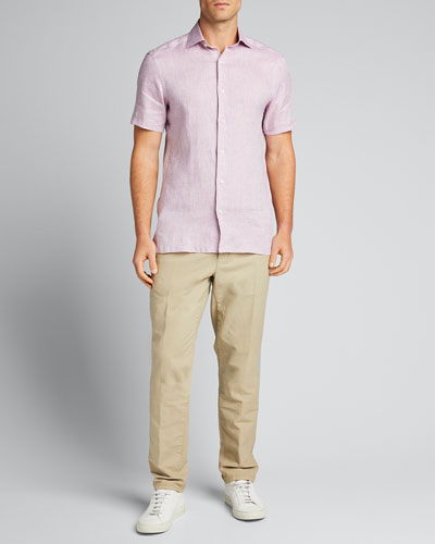 Men's Linen Short-Sleeve Sport Shirt