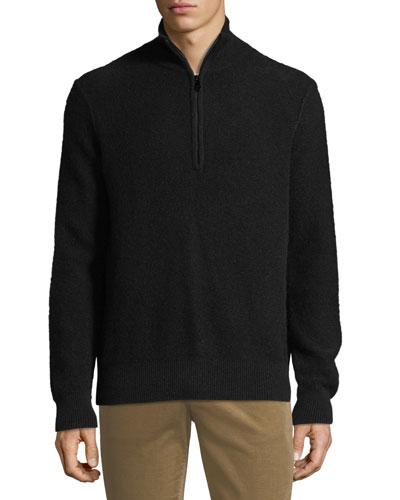 Men's Half-Zip Mock-Neck Cashmere Pullover