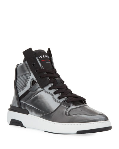 Men's Wing Faux-Leather High-Top Sneakers