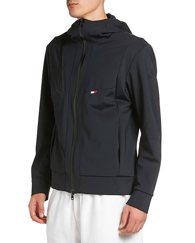 Men's Zip-Front Hooded Knit Jacket