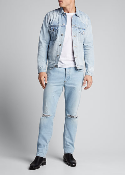 Men's Light Wash Destroyed Jeans