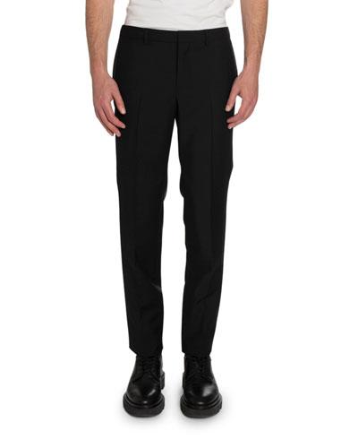 Men's Satin-Trim Slim-Fit Wool Pants