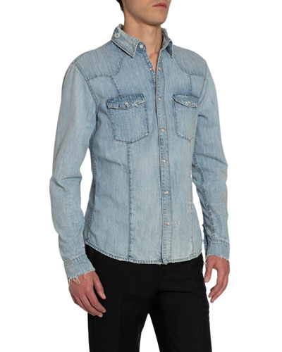 Men's Slim-Fit Denim Western Shirt