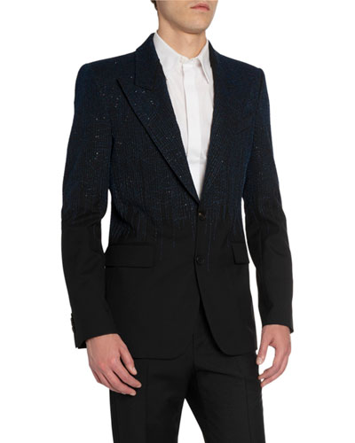 Men's Embroidered Peak-Lapel Two-Button Jacket