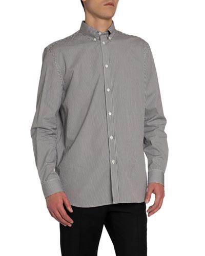Men's Striped Back-Patch Sport Shirt