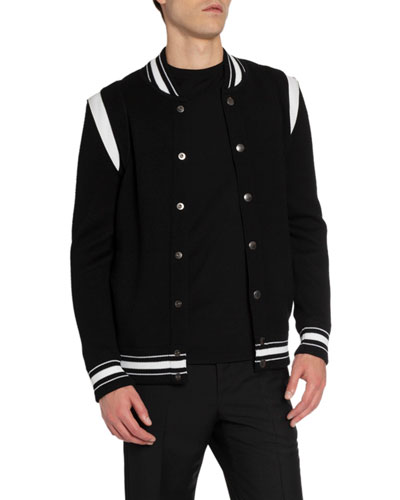 Men's Knitted Snap-Front Bomber Jacket