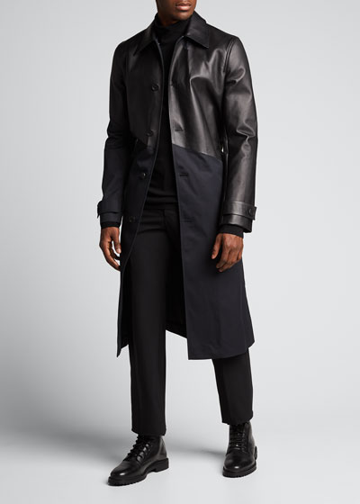 Men's Tech Trench Coat w/ Bonded Leather Top