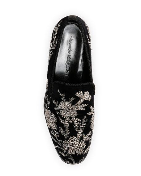 Men's Embellished Velvet Formal Slip-Ons