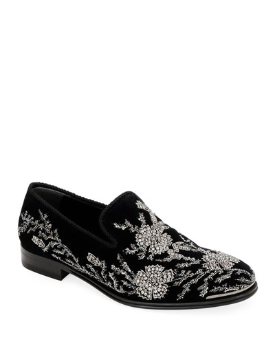 Men's Embellished Velvet Formal Slip-Ons