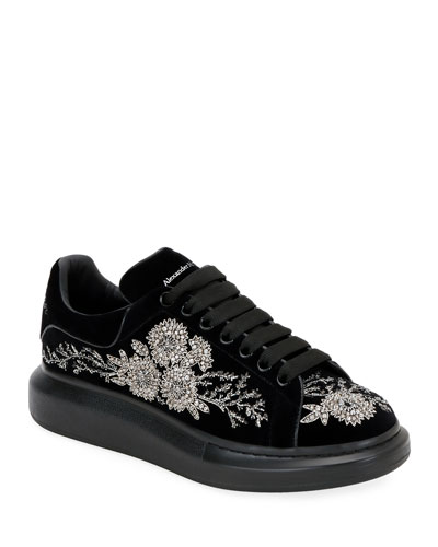 Men's Embellished Velvet Oversized Sneakers