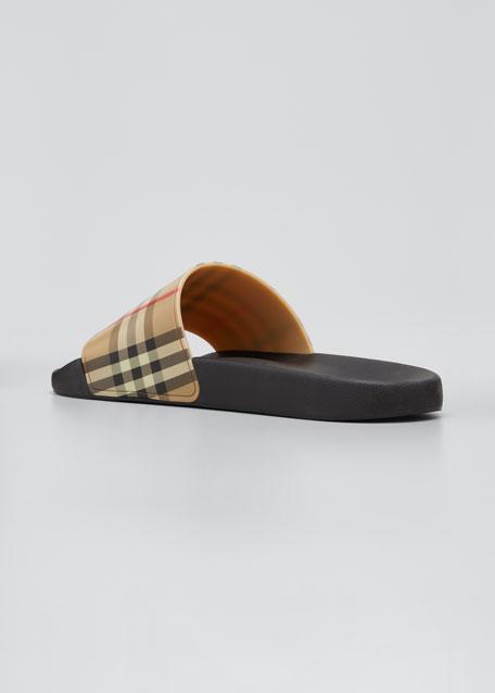 Men's Furley Vintage Check Pool Slide Sandals