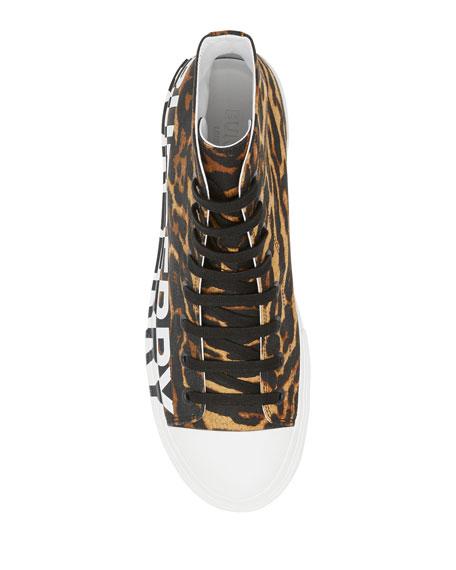 Men's Larkhall Leopard-Print Logo High-Top Sneakers