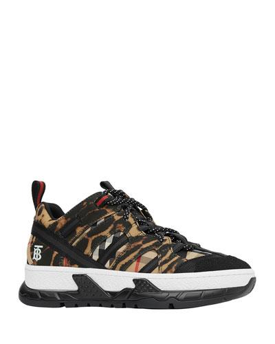Men's Union Leopard Check Platform Trainer Sneakers