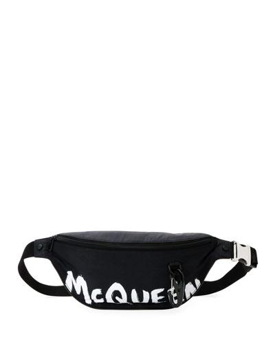 Men's Graffiti Logo Leather Belt Bag