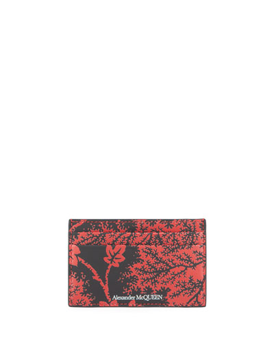 Men's Branch-Print Leather Card Case
