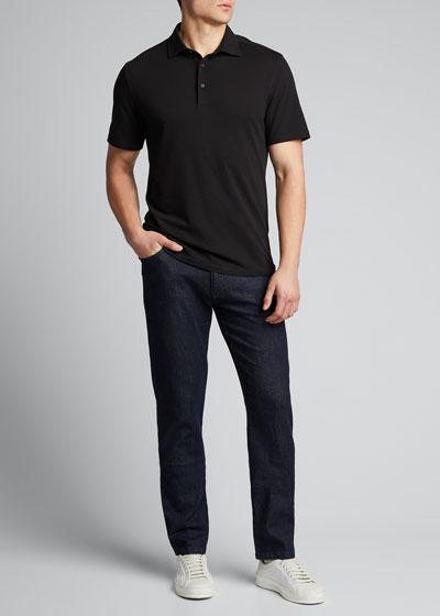 Men's Solid Cotton/Silk Polo Shirt
