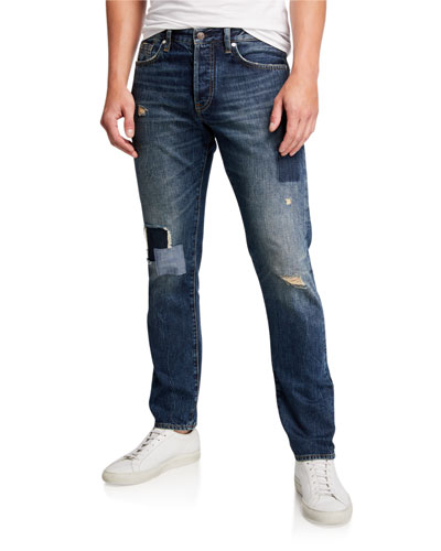 Men's Dark-Patched Straight Jeans