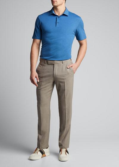 Men's Solid Cotton-Blend Polo Shirt