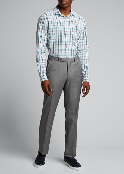 Men's Cotton-Linen Plaid Sport Shirt