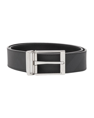 Men's Louis Reversible London Check/Smooth Leather Belt