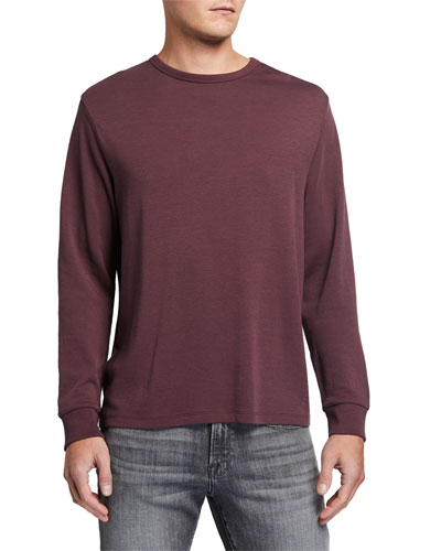 Men's Crewneck Long-Sleeve Quilted-Back Cotton T-Shirt